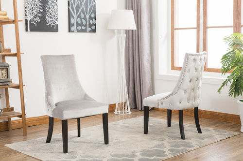 Silver soft velvet dining chairs