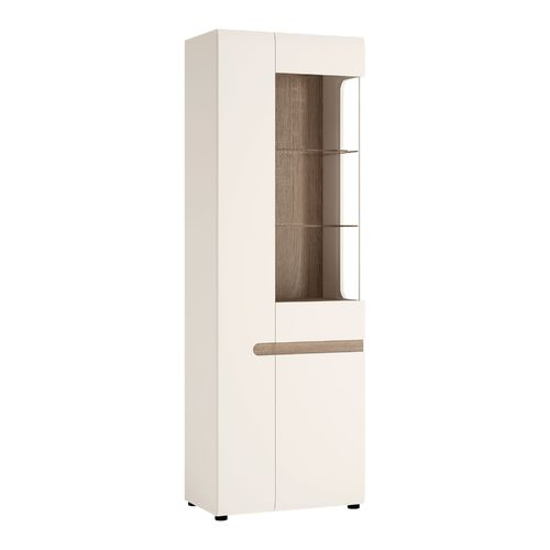 White high gloss oak finish tall glazed narrow display cabinet LH
