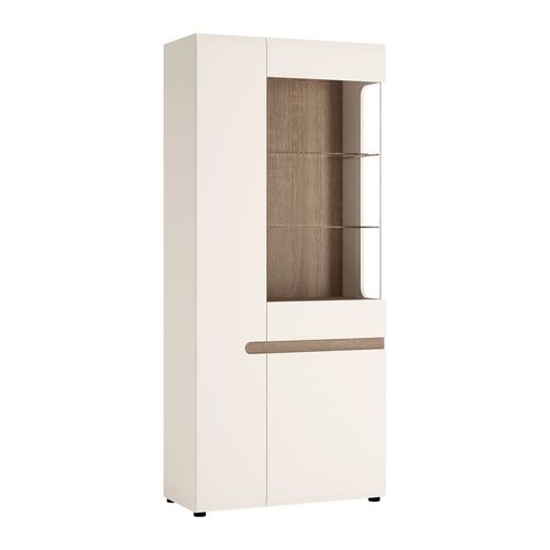 White high gloss wide tall display cabinet LH