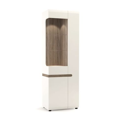 White high gloss oak finish tall glazed narrow display cabinet RH