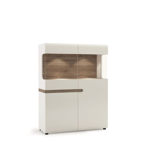 White high gloss oak finish low glazed display cabinet 109cm