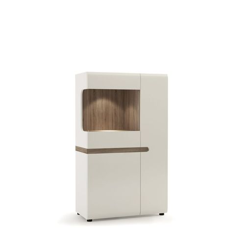 White high gloss oak finish low glazed display cabinet 85cm