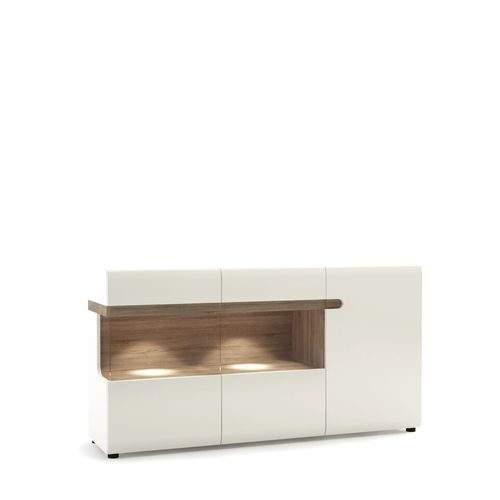 White high gloss glazed sideboard with oak trim