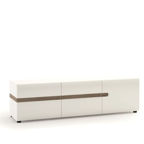 White high gloss 3 door Tv unit with oak finish trim