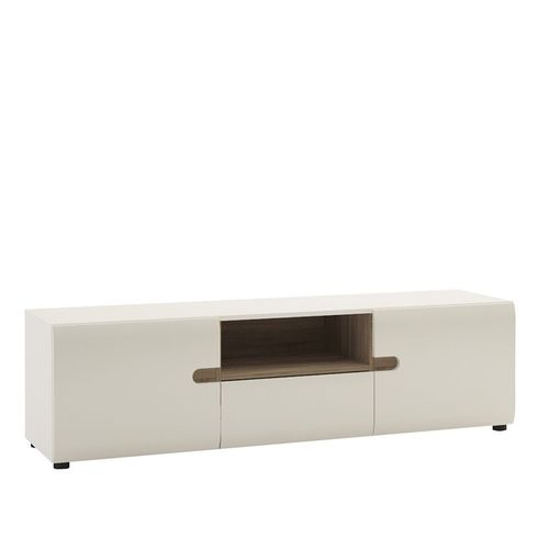 White high gloss Tv unit with oak finish trim