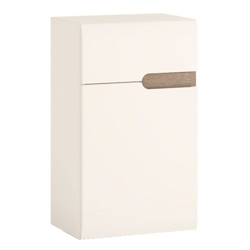 White high gloss low wall cupboard LH 1 Door 1 Drawer