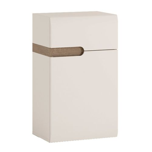 White high gloss low wall cupboard RH 1 Door 1 Drawer