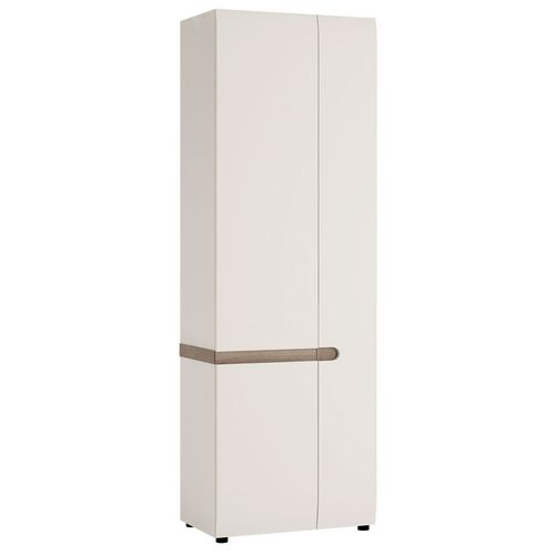 White high gloss tall cupboard with oak trim