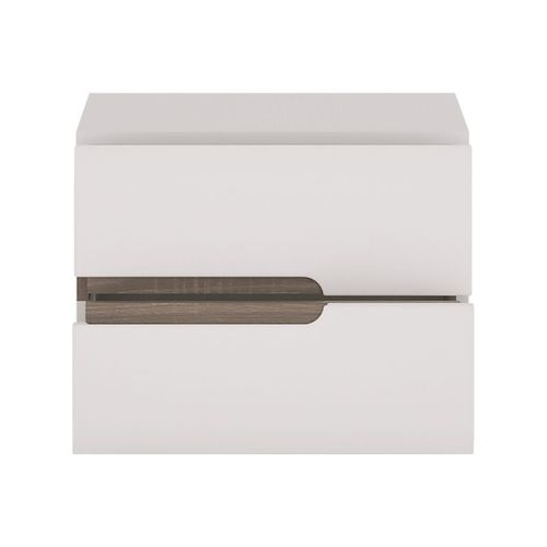 White high gloss 2 drawers Bedside