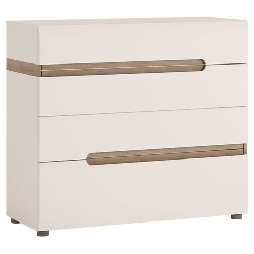 white high gloss 4 drawer chest with oak trim
