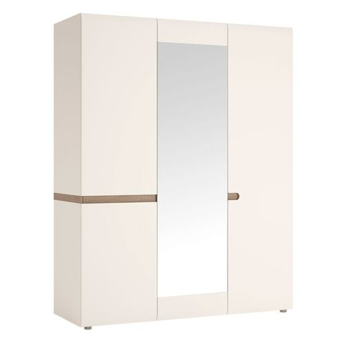 White gloss 3 door wardrobe with oak finish trim