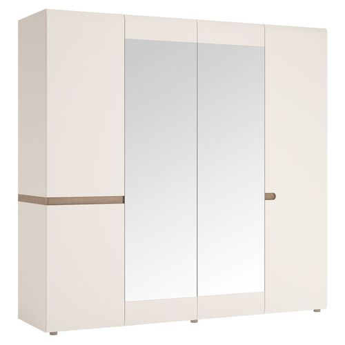 White high gloss 4 door wardrobe with mirrors