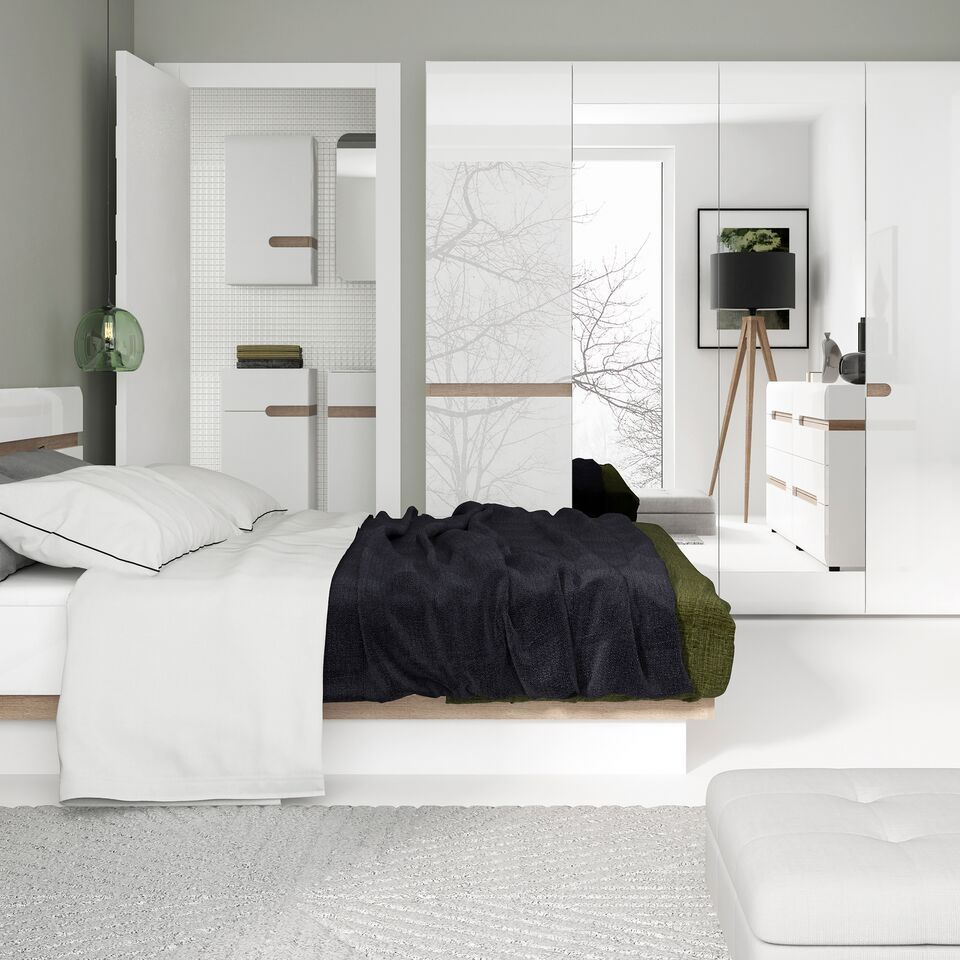 Oak Bed Bedroom Black And White Wall Bedroom Ideas Navy Blue Bedroom Inspiration Bedroom With Cathedral Ceiling: White High Gloss Double Bed With Oak Finish Trim