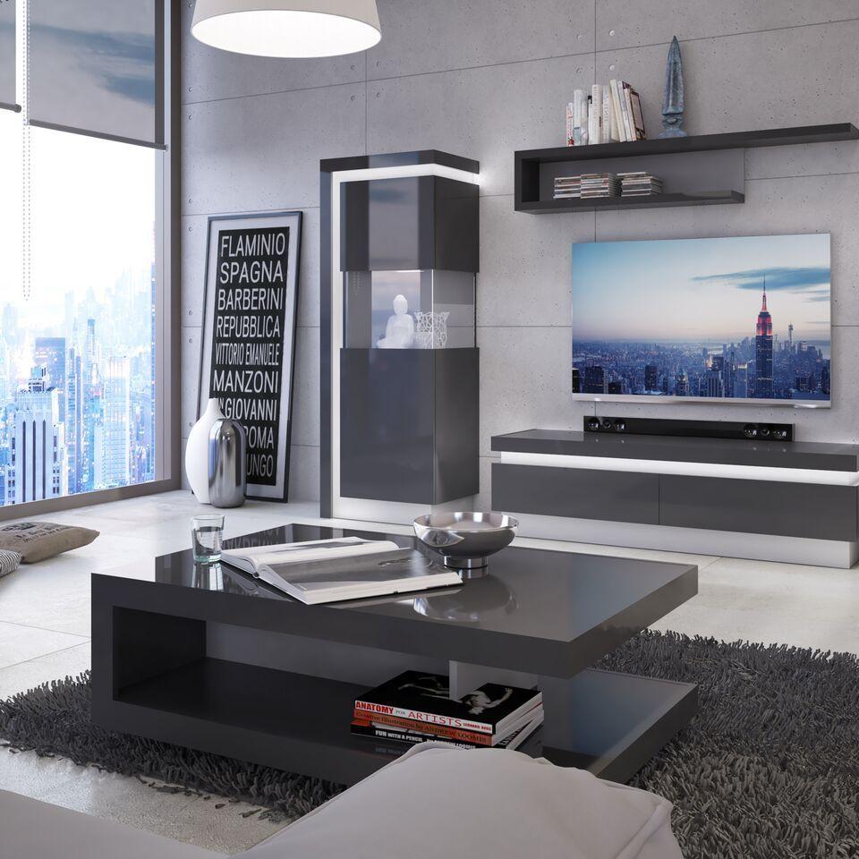 grey high gloss 1 drawers tv cabinet homegenies. Black Bedroom Furniture Sets. Home Design Ideas