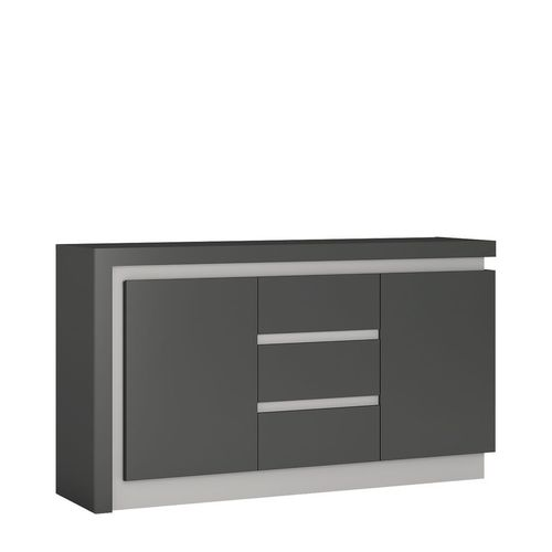 Grey high gloss 2 door 3 drawer sideboard