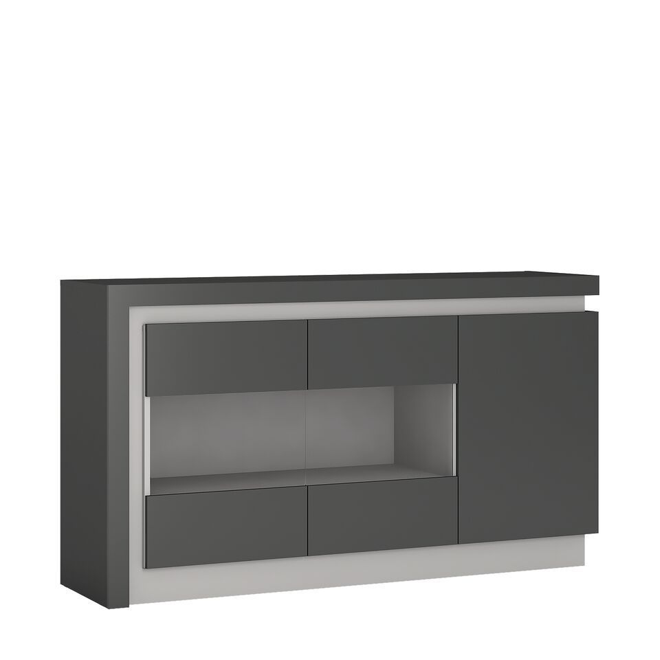 Grey high gloss sideboard with glass front homegenies for Sideboard glasfront