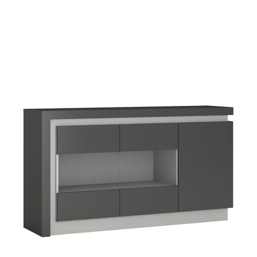 Grey high gloss sideboard with glass front