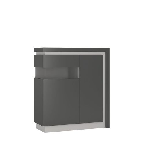 Grey high gloss 2 door cabinet with glass front LH