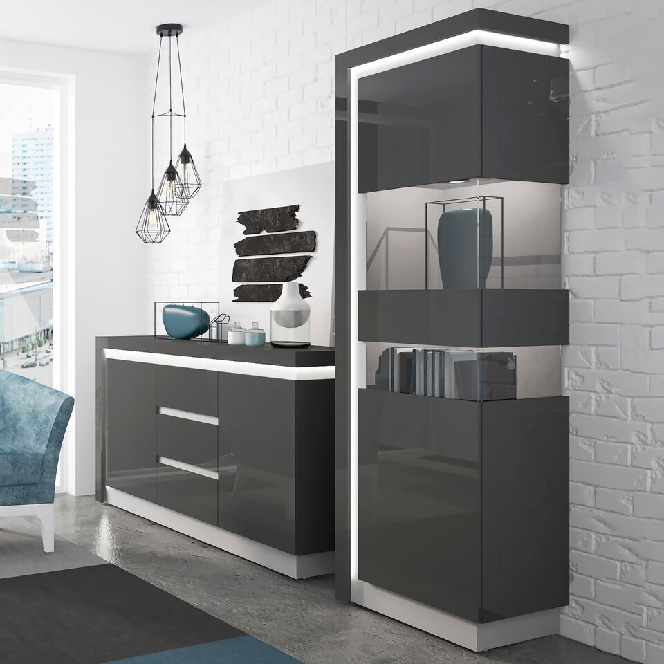 Grey High Gloss 2 Door Cabinet With Glass Front Rh