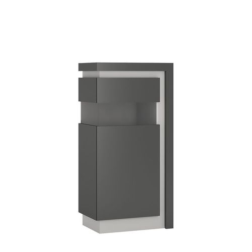Grey high gloss glass front narrow cabinet LH