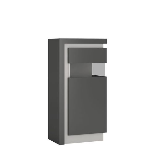 Grey high gloss glass front narrow cabinet RH