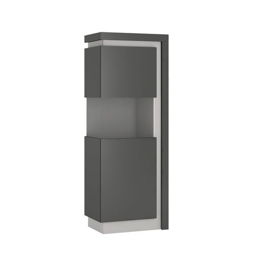 Modern grey high gloss glass display cabinet LH