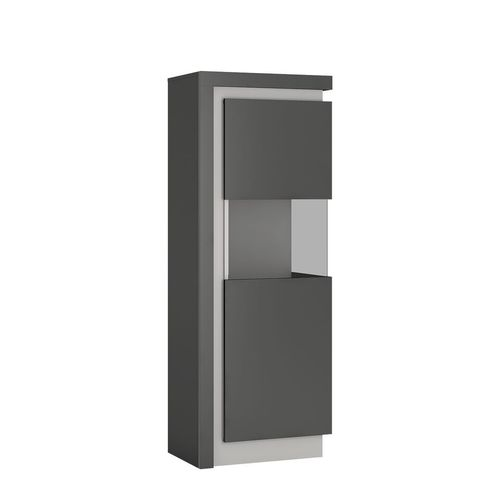 Modern grey high gloss glass display cabinet RH