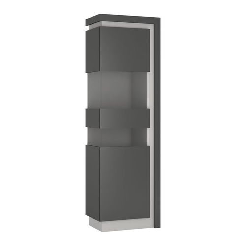 Tall narrow grey high gloss & glass front cabinet LH