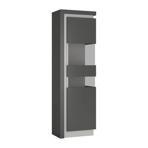 Tall narrow grey high gloss & glass front cabinet RH