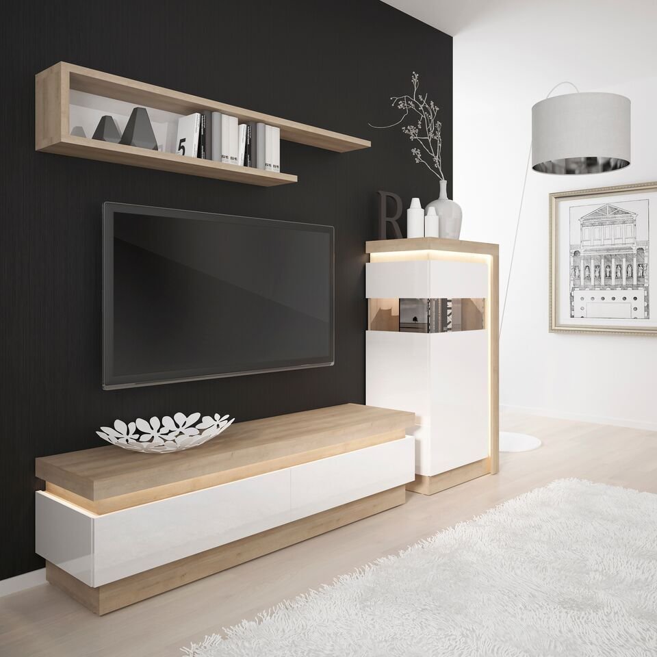 on sale a4b94 f5ffc White high gloss and oak 2 drawer tv cabinet - Homegenies