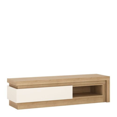Oak finish tv cabinet with white high gloss trim