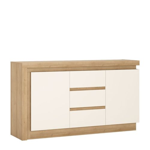 White high gloss oak finish 2 door 3 drawer sideboard
