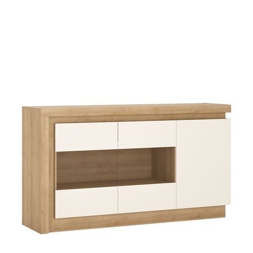 White high gloss with oak finish 3 drawer sideboard