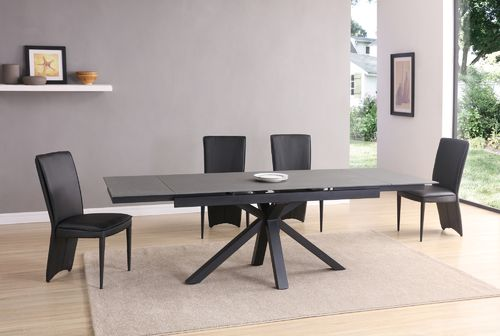 Grey and black stone glass dining table and 6 Chairs