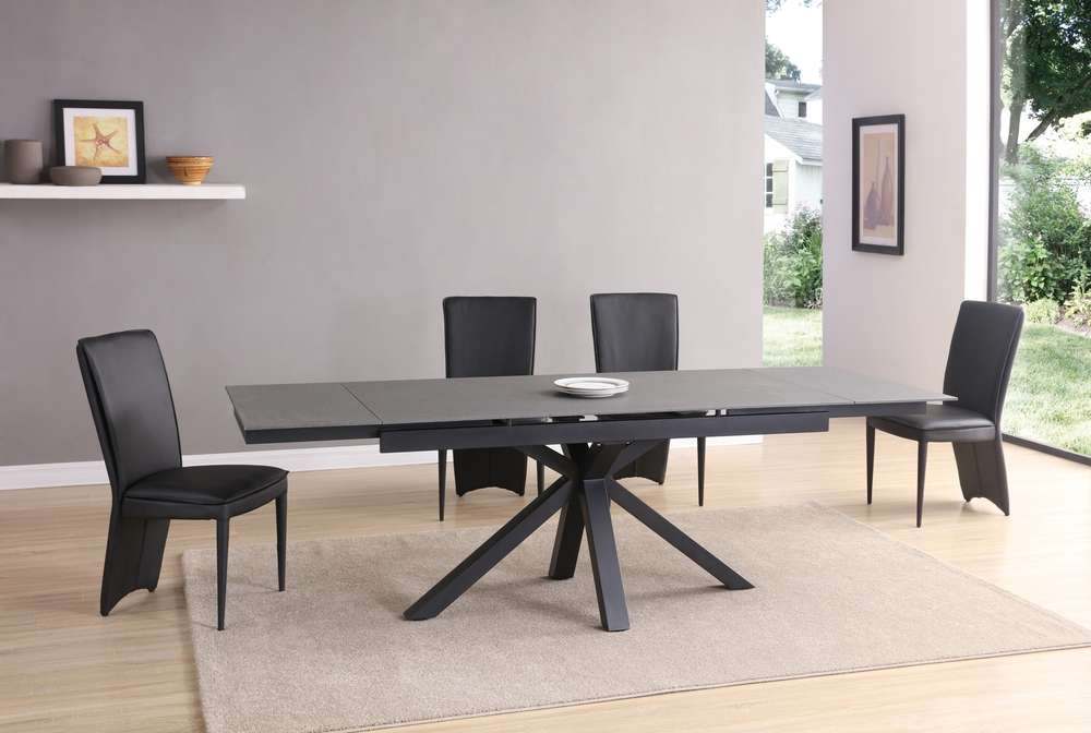 Black Grey Stone Glass Dining Table And Chairs Homegenies - Glass dining table for 10