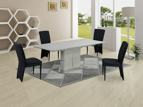 Matt cream ceramic dining table and 6 black chairs