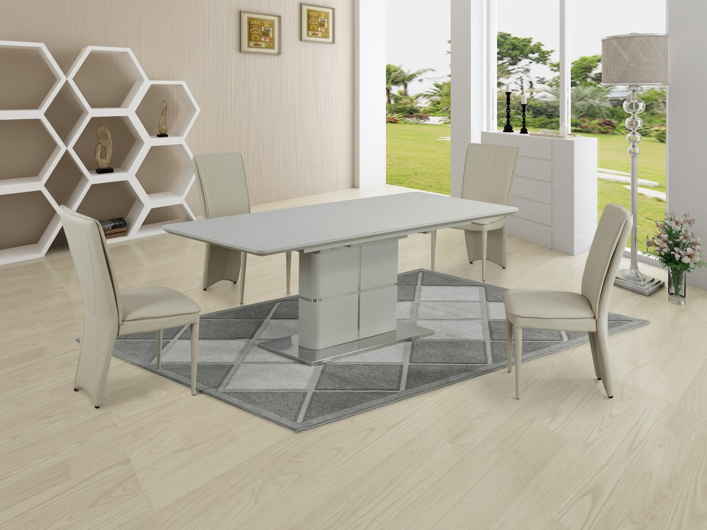 Matt Cream Ceramic Dining Table And 6 Chairs Homegenies
