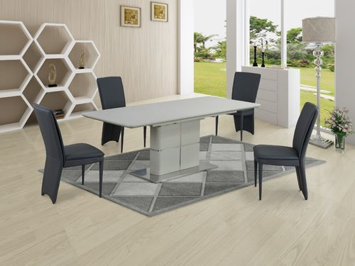 Matt cream ceramic dining table and 8 grey chairs