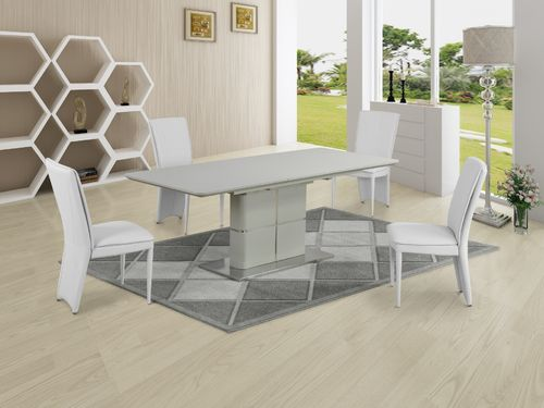 Matt cream ceramic dining table and 8 white chairs