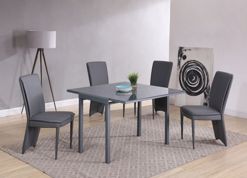 Matt Grey glass dining table and 4 chairs