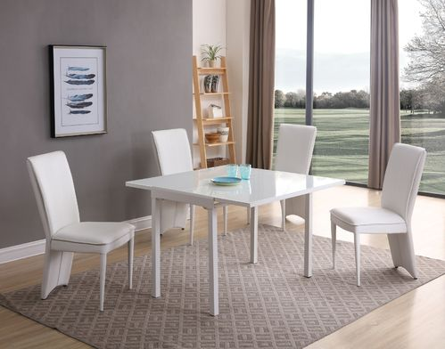 Matt white glass dining table and 4 chairs