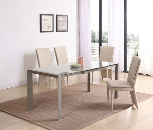 Matt cream glass dining table and 4 cream chairs