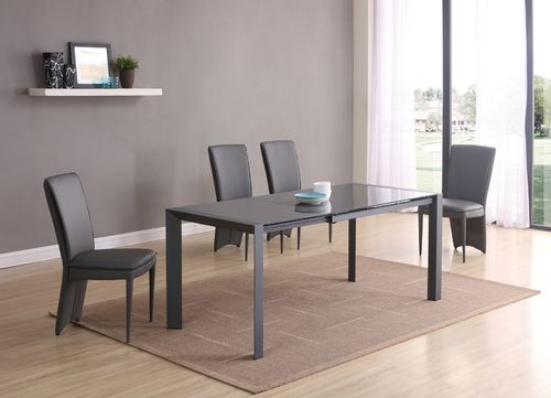 Matt grey glass dining table and 4 grey chairs