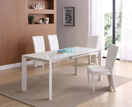 Extending Matt white glass dining table and 6 chairs