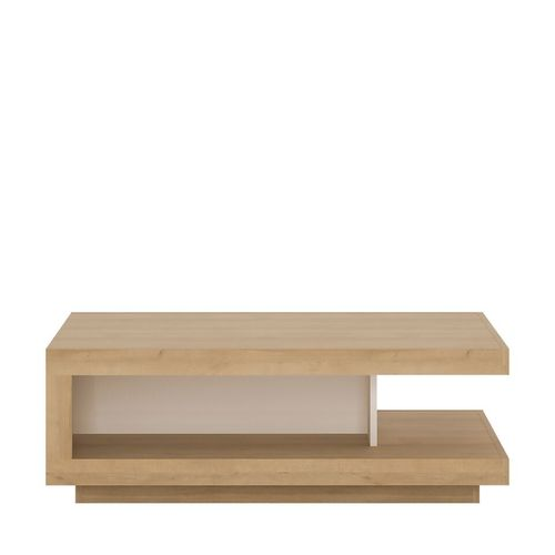 White high gloss with oak finish coffee table