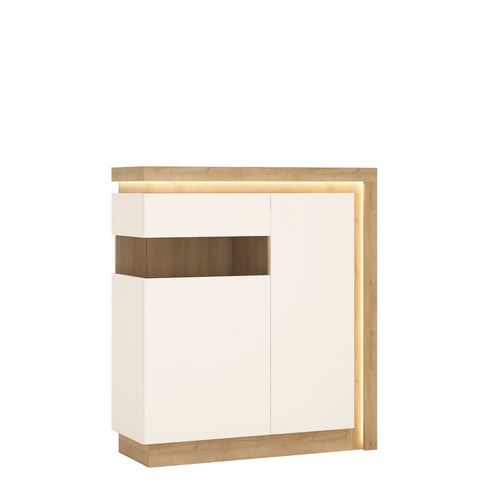 White high gloss with oak finish 2 door cabinet LH