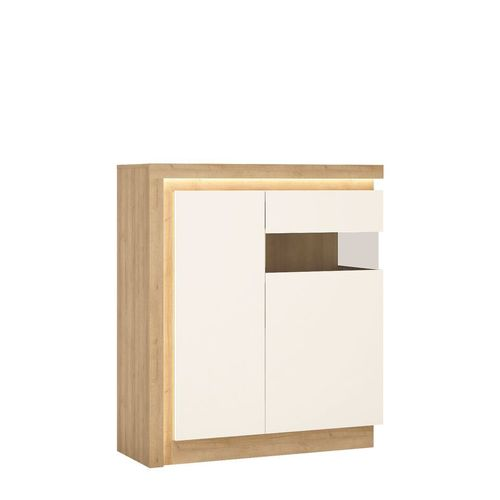 White high gloss with oak finish 2 door cabinet RH