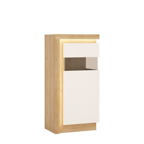 white high gloss oak finish narrow display cabinet RH