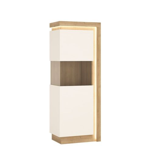white high gloss oak finish display cabinet LH