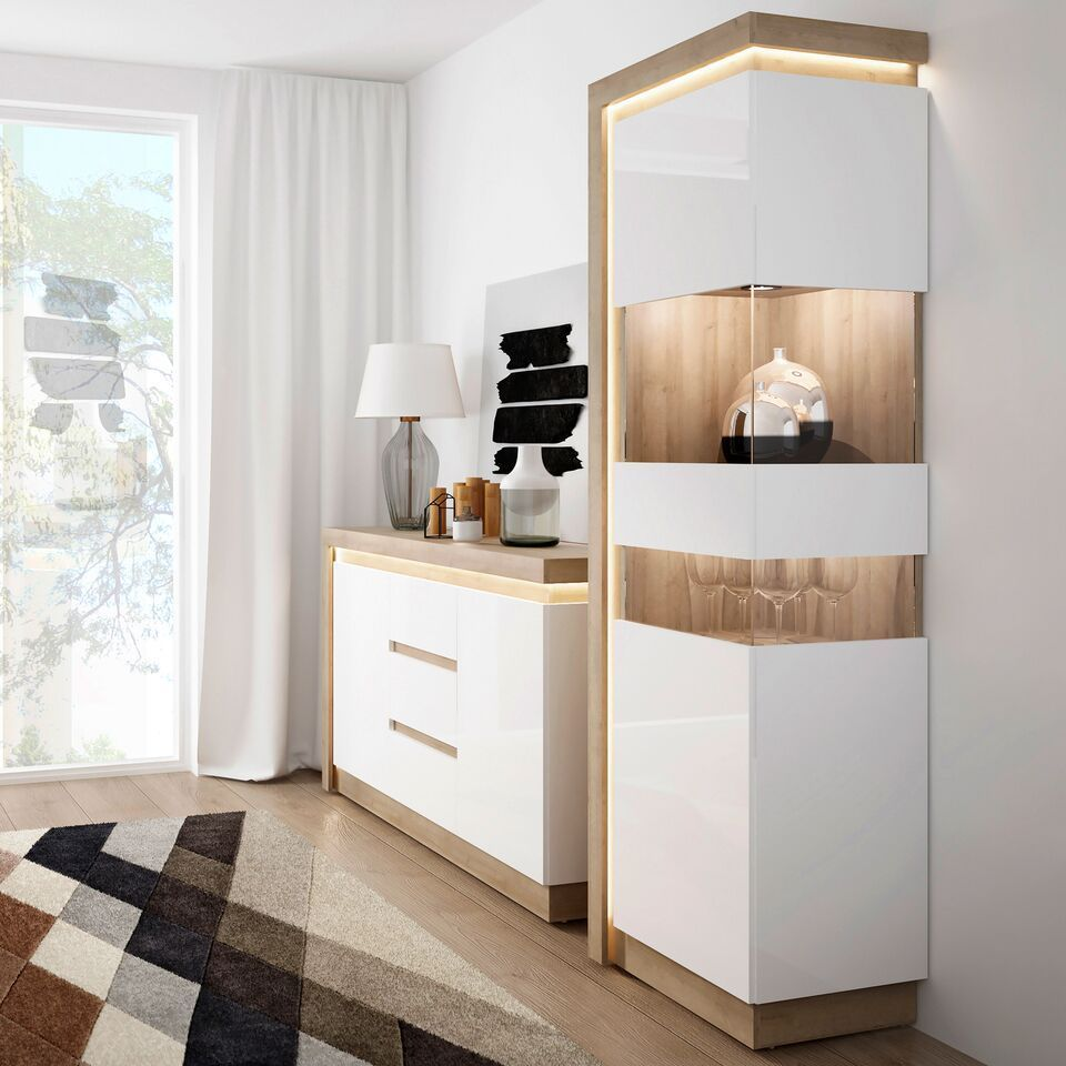 White high gloss oak finish display cabinet rh homegenies White high gloss living room furniture uk